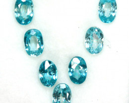 ~SPARKLING~ 5.02 Cts Natural Blue Zircon 6x4mm Oval 7Pcs Cambodia