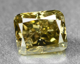 *No Reserve*Diamond 0.36 Cts Sparkling Fancy Greenish Yellow Color Natural