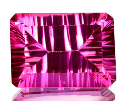 9.23Cts  Pink Natural Topaz Octagon 14 X 10mm Concave Cut Brazil