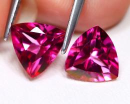 Pink Topaz 4.27Ct 2Pcs VVS Trillion Cut Natural Pink Color Topaz B2411