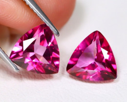 Pink Topaz 3.70Ct 2Pcs VVS Trillion Cut Natural Pink Color Topaz B6184