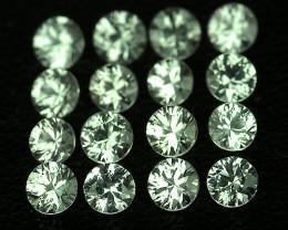 1.30 mm Round Machine Cut 80 pcs 1.00ct Green Sapphire [VVS]