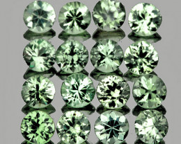 1.80 mm Round Machine Cut 30pcs 0.95ct Green Sapphire [VVS]