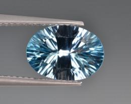 Natural Blue Topaz 3.51 Cts Concave Cut Top Quality.