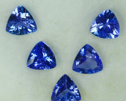 2.00Cts Natural Purple Blue Tanzanite 5mm Trillion 5Pcs Tanzania