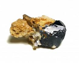 Amazing Natural Black Tourmaline Schorl with Feldspar  Specimen 65Cts-Pak