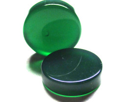 10.33tcw  Green Chalecedony Matching Round Discs