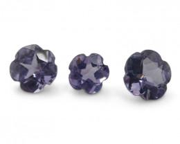 1.80ct Flower Violet Sapphire 3 Stone Set
