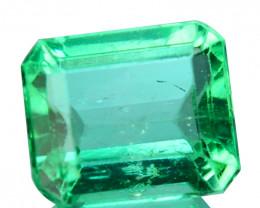 Natural Vivid Green Emerald Octagon Cut Colombia 0.36 Cts