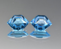 Natural BlueTopaz  Pair 9.80 Cts, Good Quality Gemstone
