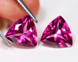 Pink Topaz 5.95Ct 2Pcs VVS Trillion Cut Natural Pink Color Topaz B1608