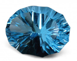 10.30ct Oval Blue Topaz Fantasy/Fancy Cut- $1 No Reserve Auction