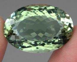 Big VVS 31.19 ct 26x18mm Oval Cut Natural Top Rich Green Prasiolite Brazil