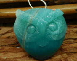Blue amazonite carved owl pendant (G2524)