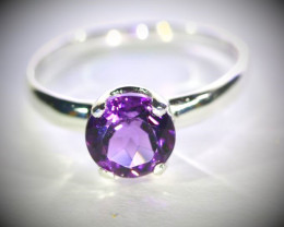 Amethyst 1.60ct Platinum Finish Solid 925 Sterling Silver Ring