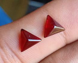 Natural Garnet Cabochon Caliberated Pair Genuine Gemstones VA2176