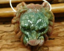 Fancy agate carved lion pendant (G2529)