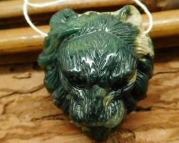 Gemstone ocean jasper lion pendant (G2532)