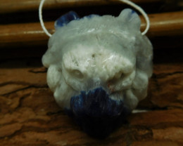 African sodalite carved lion bead (G2533)