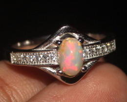 Natural Ethiopian Welo Opal 925 Silver Ring 6