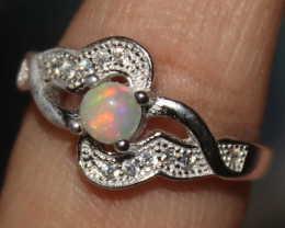 Natural Ethiopian Welo Opal 925 Silver Ring 82