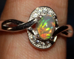 Natural Ethiopian Welo Opal 925 Silver Ring 68