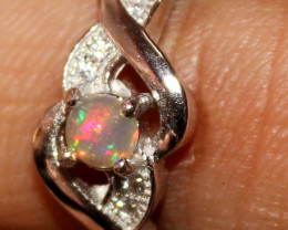 Natural Ethiopian Welo Opal 925 Silver Ring 61