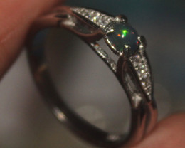 Natural Ethiopian Welo Smoked Opal 925 Silver Ring 168