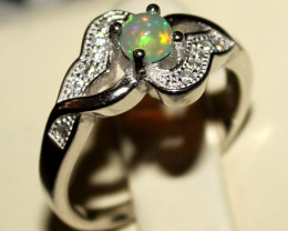 Natural Ethiopian Welo Opal 925 Silver Ring 9