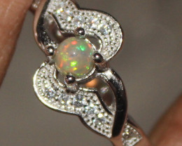 Natural Ethiopian Welo Opal 925 Silver Ring 306