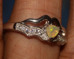 Natural Ethiopian Welo Faceted Opal 925 Silver Ring 188
