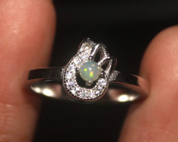 Natural Ethiopian Welo Opal 925 Silver Ring 19