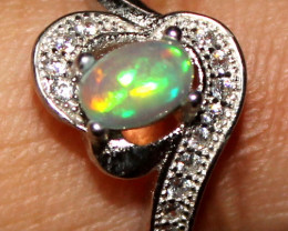 Natural Ethiopian Welo Opal 925 Silver Ring 324