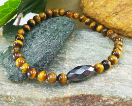 Natural Tiger Eye & Hematite Healing Bracelet 6mm , Unisex