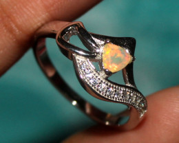 Natural Ethiopian Welo Faceted Opal 925 Silver Ring 20