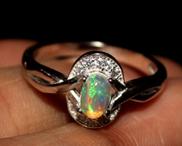 Natural Ethiopian Welo Opal 925 Silver Ring 11