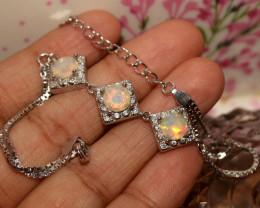 Natural Ethiopian Welo Faceted Opal 925 Silver Bracelet 13