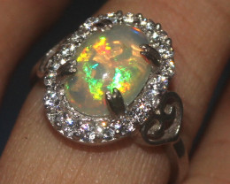 Natural Ethiopian Welo Opal 925 Silver Ring 179