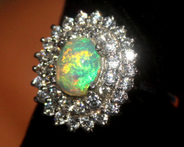 Natural Ethiopian Welo Opal 925 Silver Ring 176