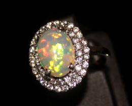 Natural Ethiopian Welo Opal 925 Silver Ring 124