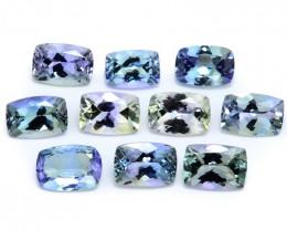 *NoReserve*Tanzanite 7.93 Cts 10pcs Peacok Color Natural Gemstone