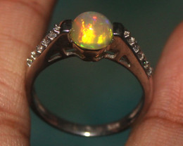 Natural Ethiopian Welo Opal 925 Silver Ring 196