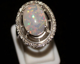 Natural Ethiopian Welo Opal 925 Silver Ring 104
