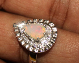 Natural Ethiopian Welo Faceted Opal 925 Silver Ring 142