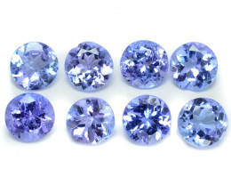 2.08 Cts 8pcs 4mm RD A+ Violet Blue Color Natural Tanzanite Gemstone