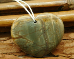 Gemstone heart shape creek jasper pendant (G2555)