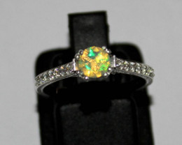 Natural Ethiopian Welo Faceted Opal 925 Silver Ring 148