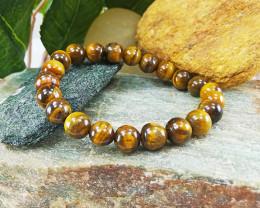 Natural Tiger Healing Bead Bracelet 8mm, Unisex S-M Size (TB002)