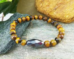 Tiger Eye & Hematite Healing Bracelet 6mm, Size S,  Unisex (TEB004)
