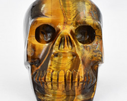 Genuine 1983 Cts Tiger Eye Hand Carved Skull